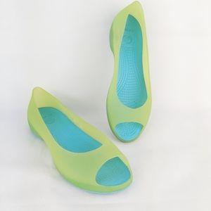 Crocs peep toe jelly shoes size 9